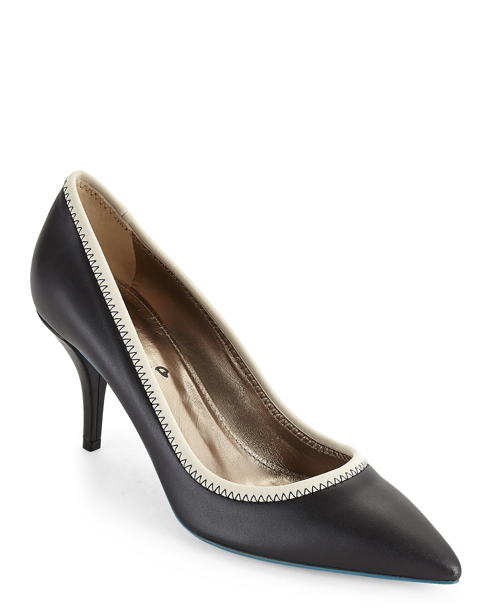 Lyst Lanvin Black Amp Off White Contrast Sole Pumps In Black
