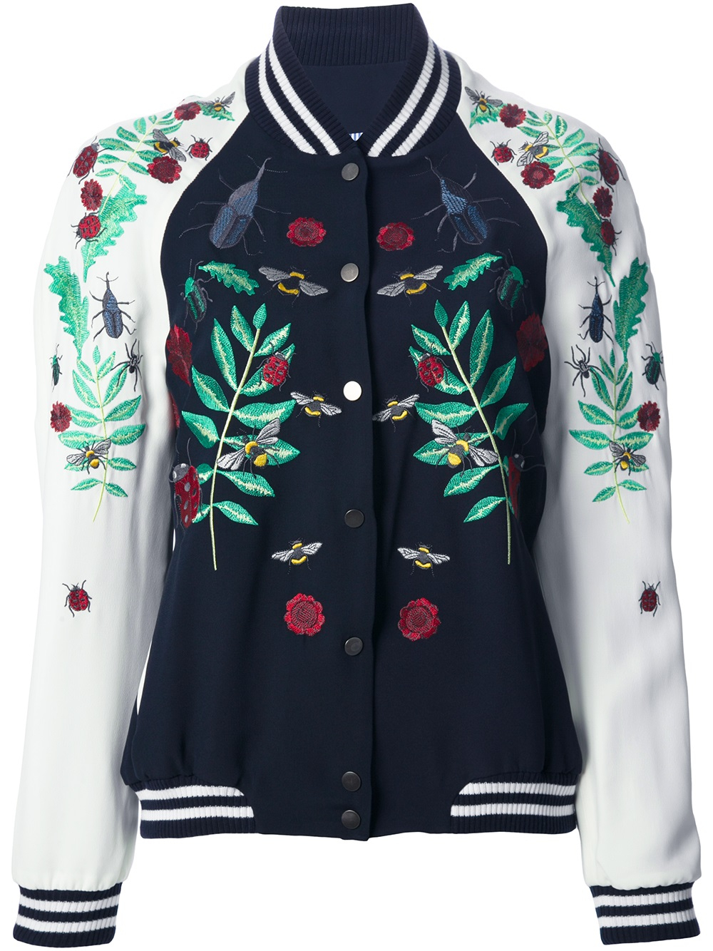 Lyst façonnable embroidered bomber jacket in blue