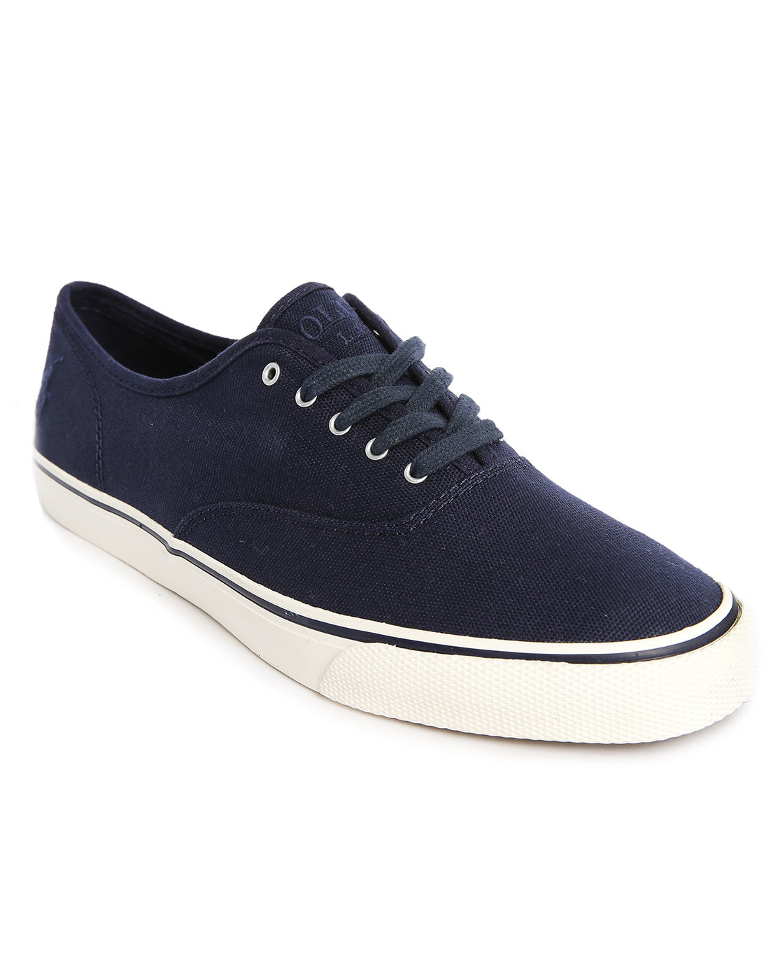 polo ralph knotical ne navy canvas sneakers in blue