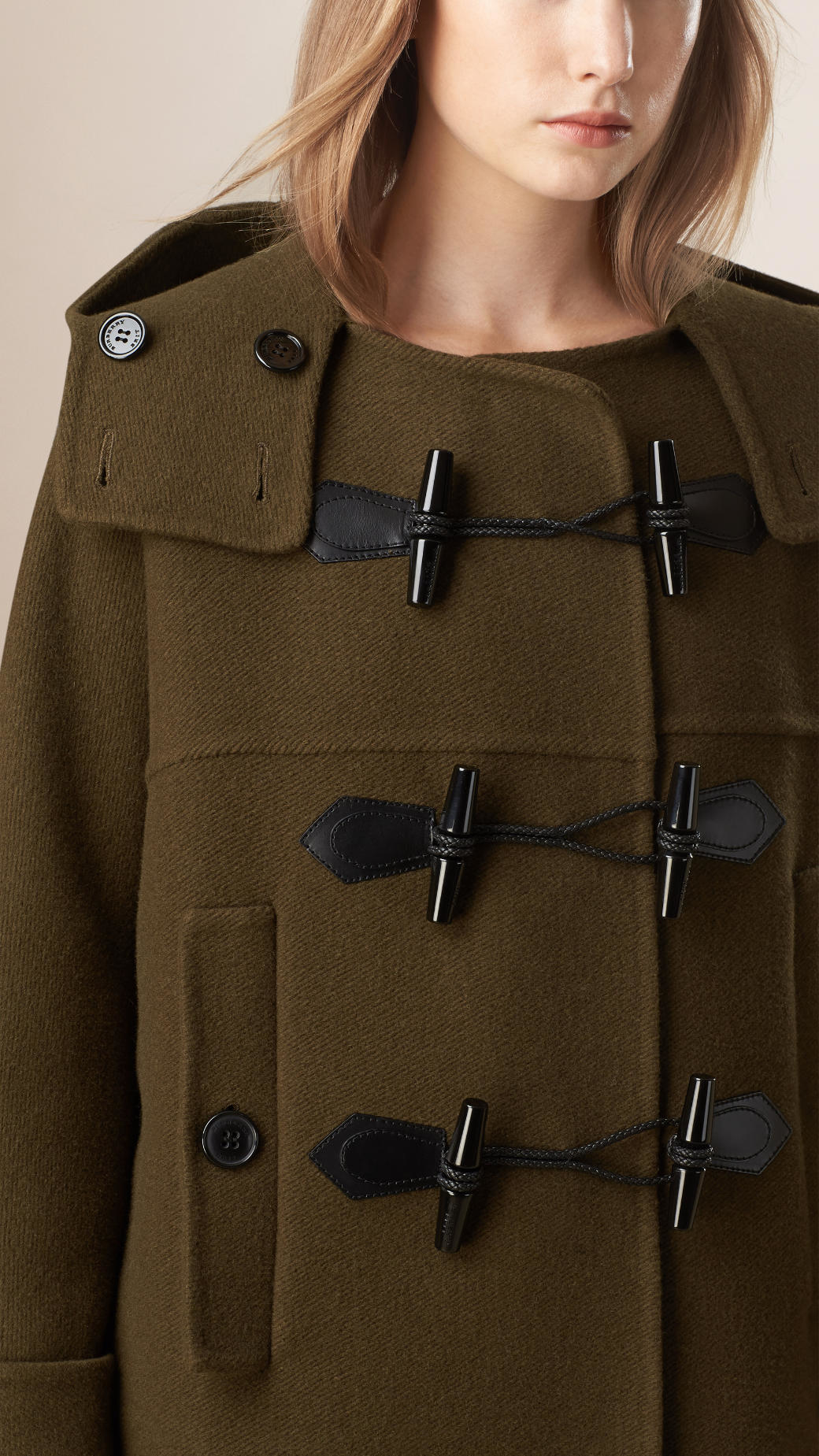 Burberry Oversize Virgin Wool Cashmere Duffle Coat Military Olive ...