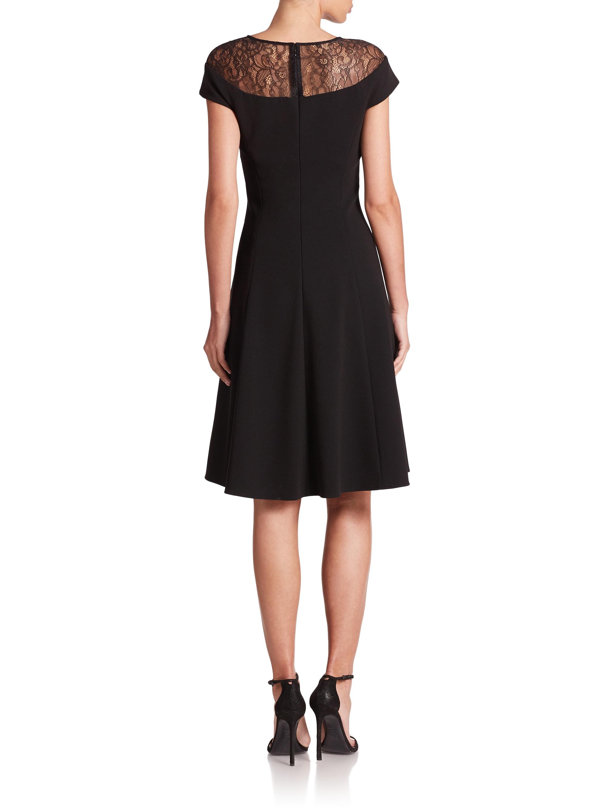 Lyst Teri Jon Lace Top Fit Amp Flare Dress In Black