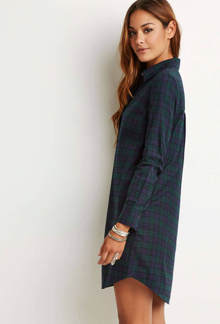 Lyst Forever 21 Flannel Plaid Shirt Dress In Blue