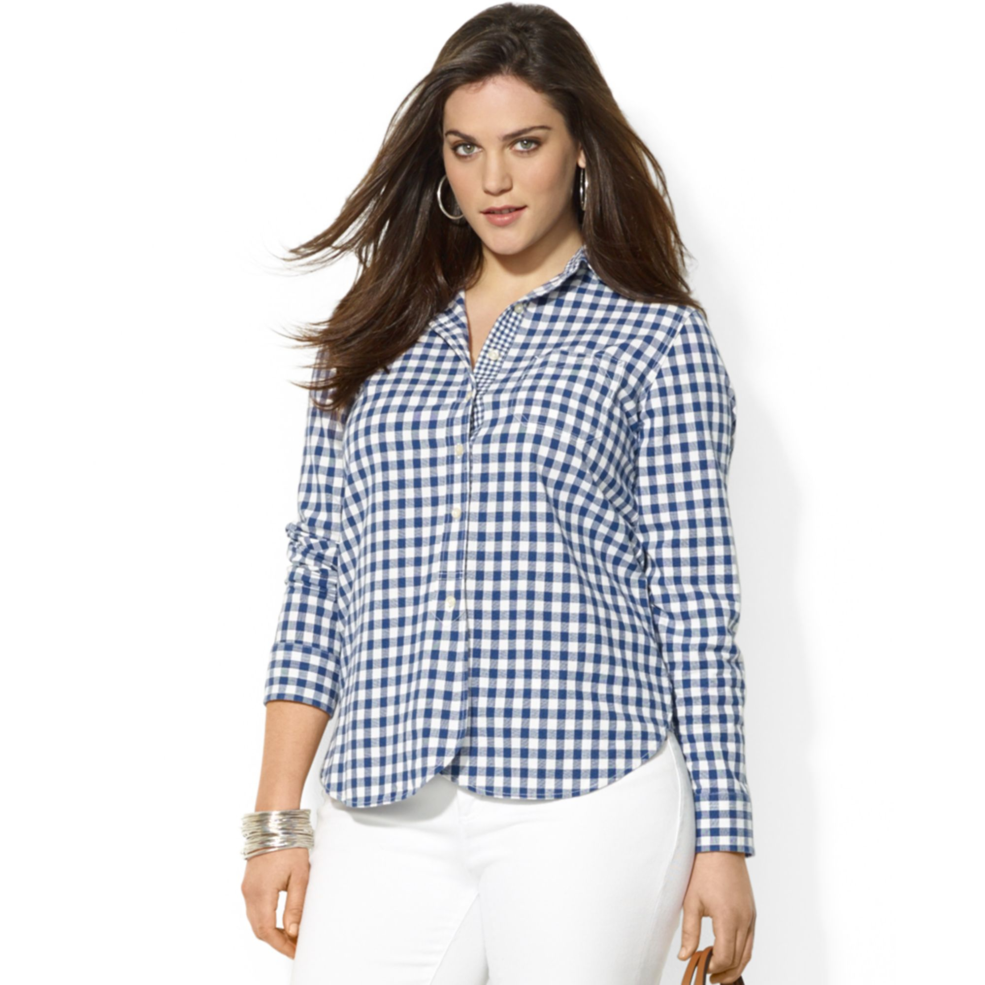 dbbe11e3a2c Lyst - Lauren by Ralph Lauren Plus Size Contrast Cuff Gingham Shirt ...