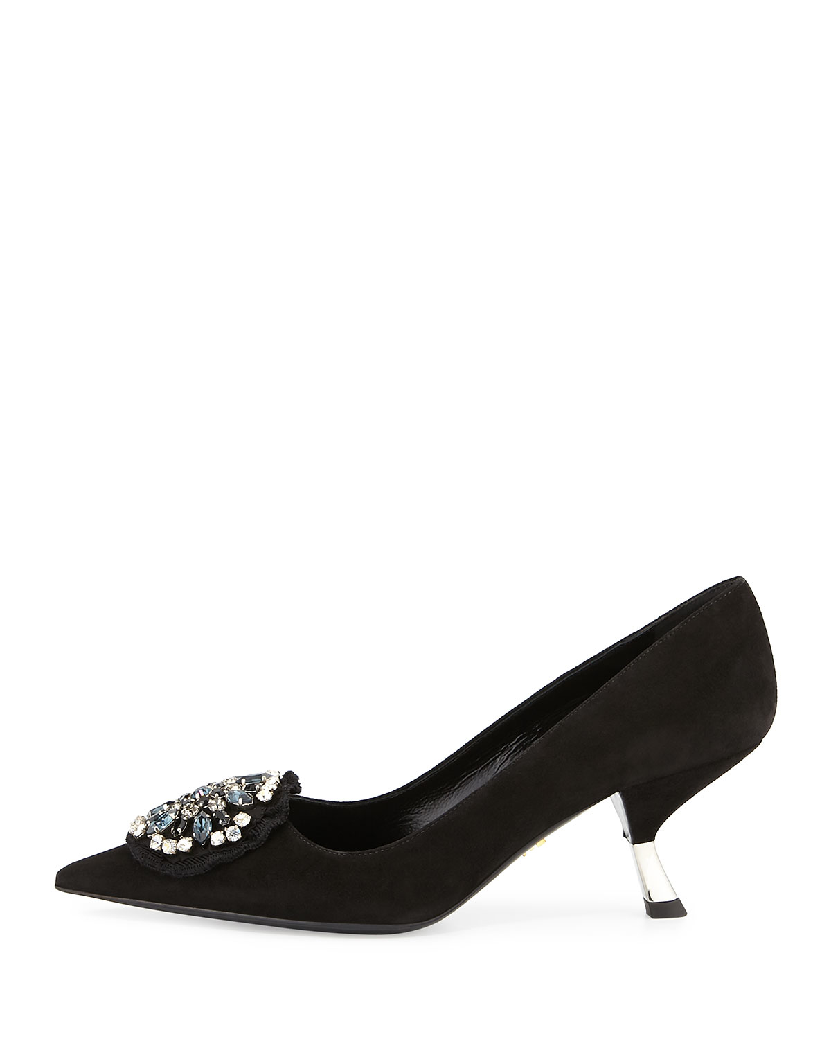 Prada Crystal-embellished suede pumps discount clearance DhuTHCnL