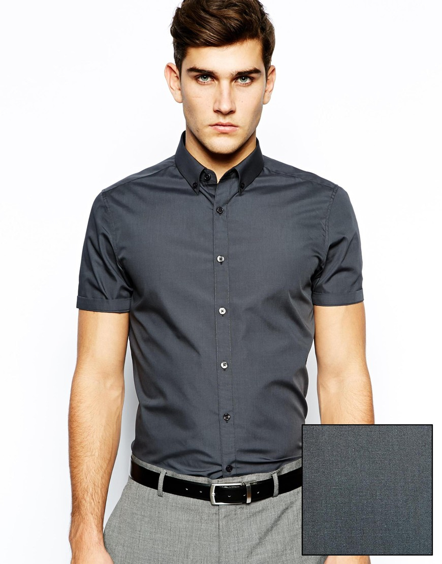 Asos Smart Shirt in Short Sleeve with Button Down Collar in Gray ...