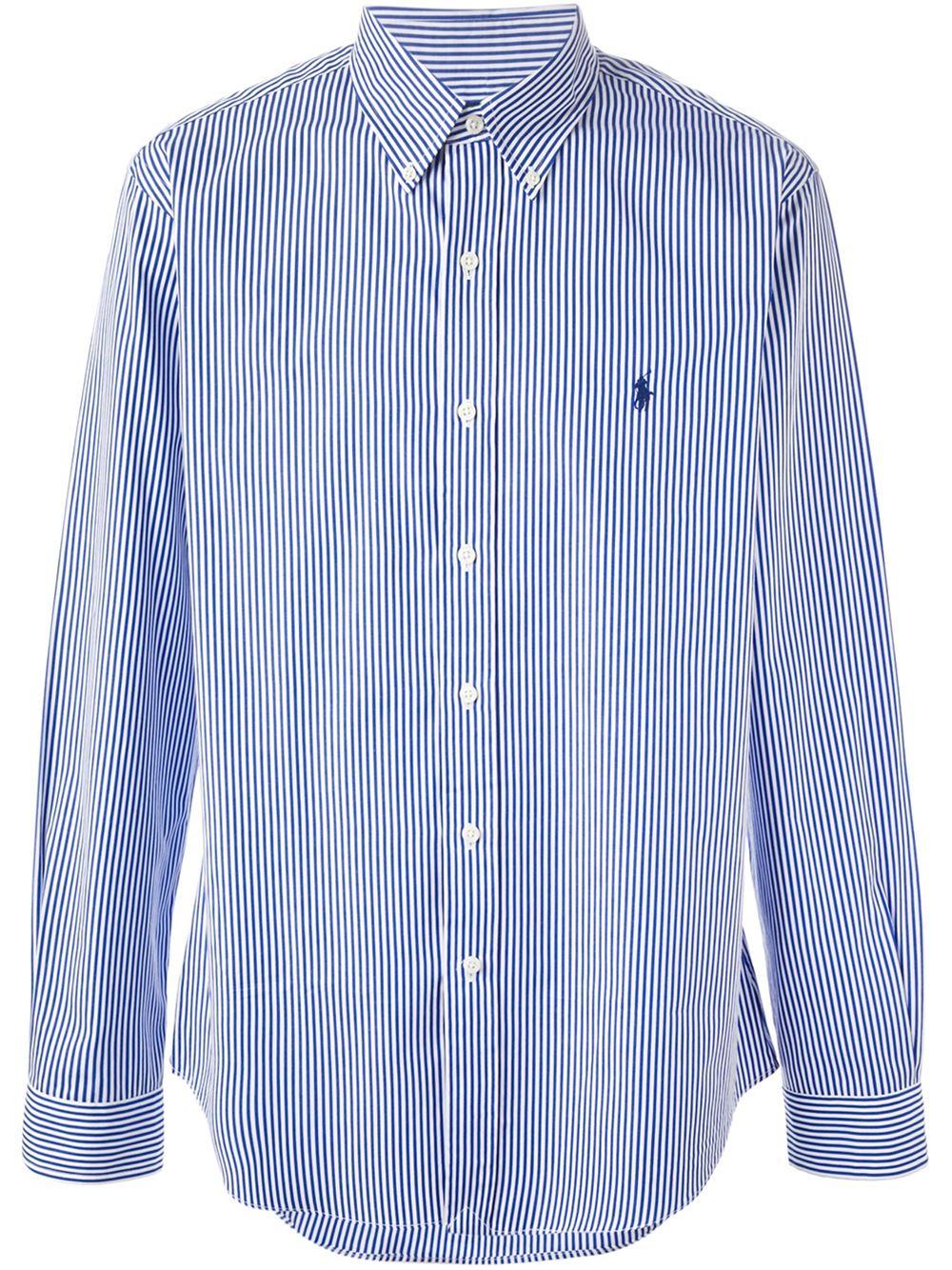 Polo ralph lauren striped button down shirt in blue for for Striped button down shirts for men