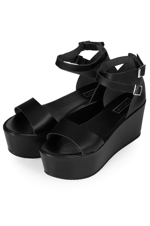 afb09091832 Lyst - TOPSHOP Wallis Flatform Sandals in Black