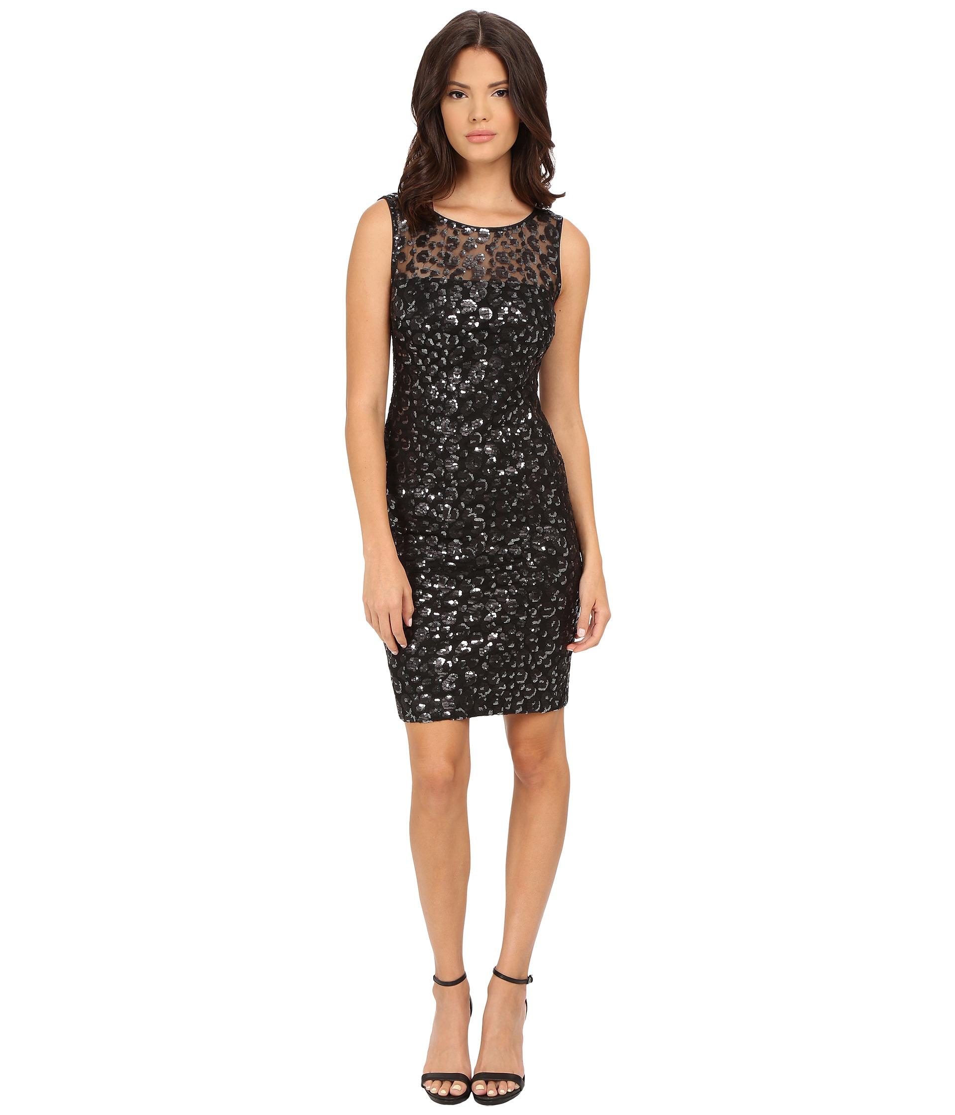 Calvin klein Sequin Sheath Dress in Black  Lyst