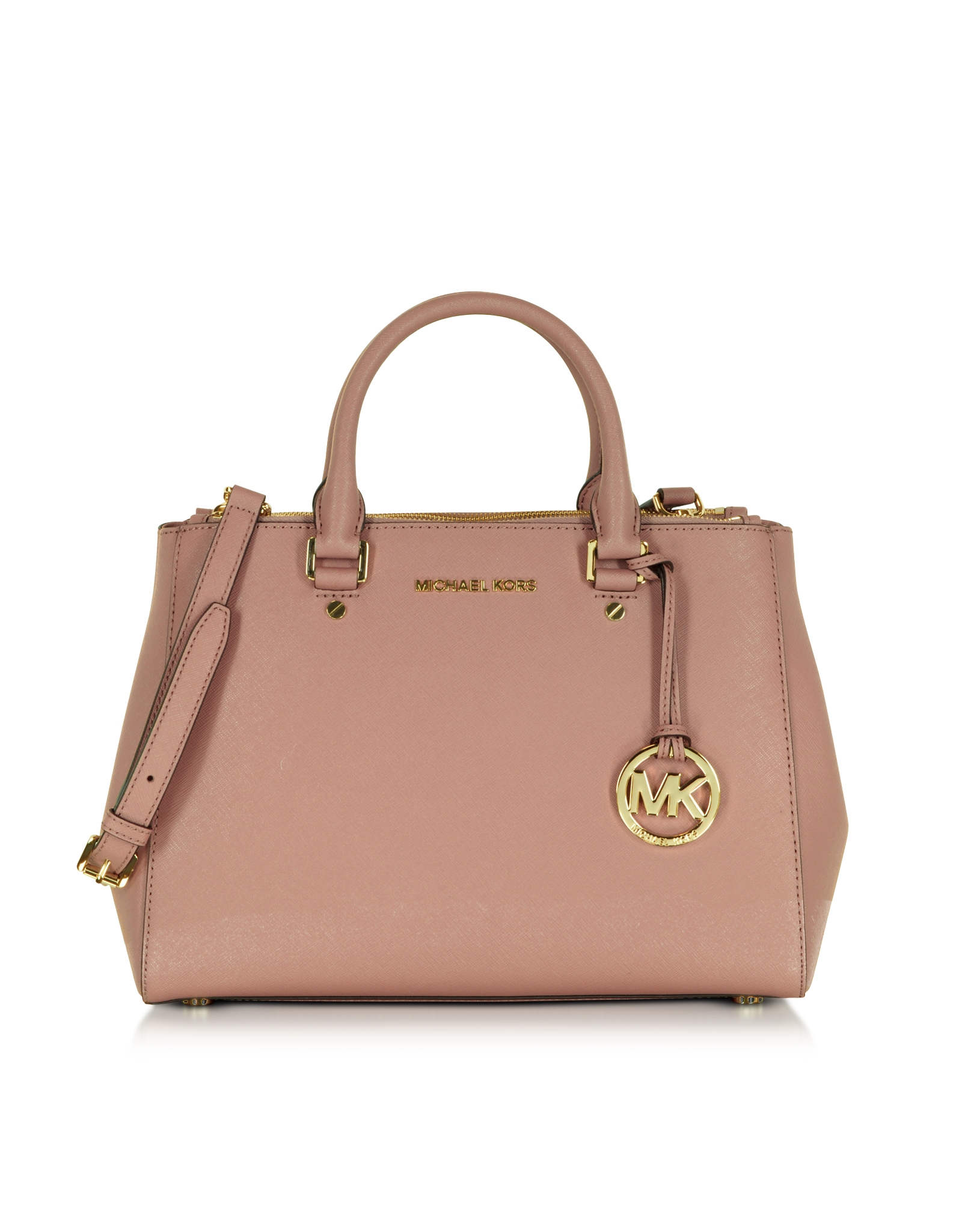 0fe3c19bc10afd Michael Kors Sutton Medium Saffiano Leather Satchel Bag in Pink - Lyst