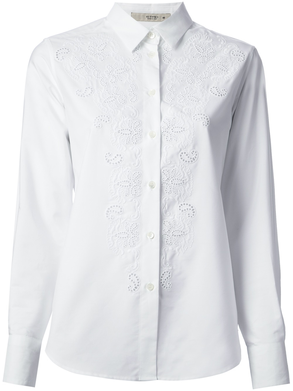 Lyst Etro Broderie Anglaise Detail Shirt In White