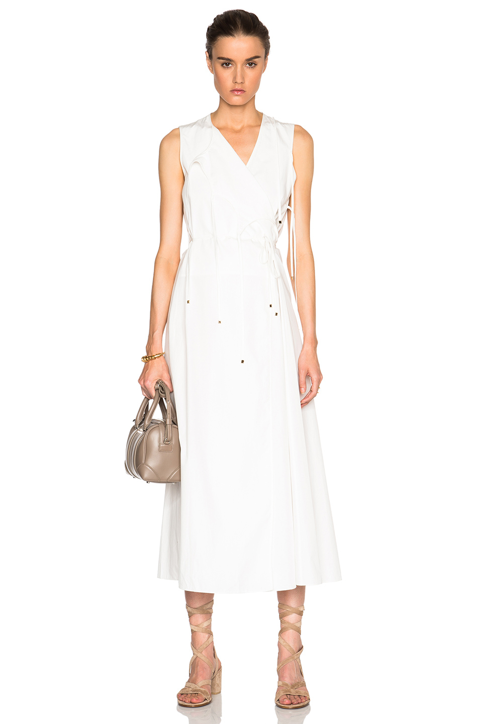 Rosetta getty Cotton Poplin Tie Front Wrap Dress in White ...
