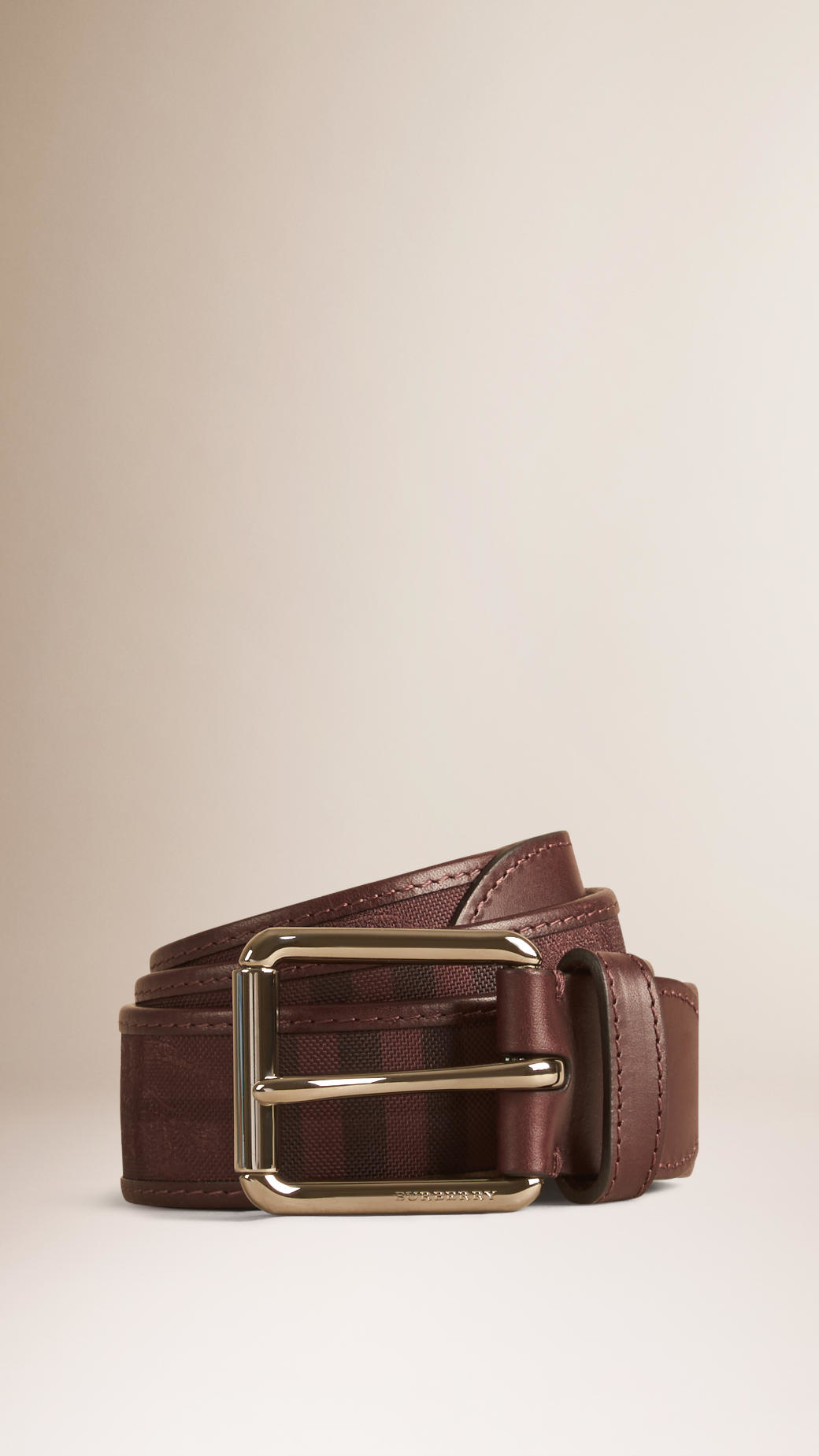 burberry overdyed horseferry check and leather belt