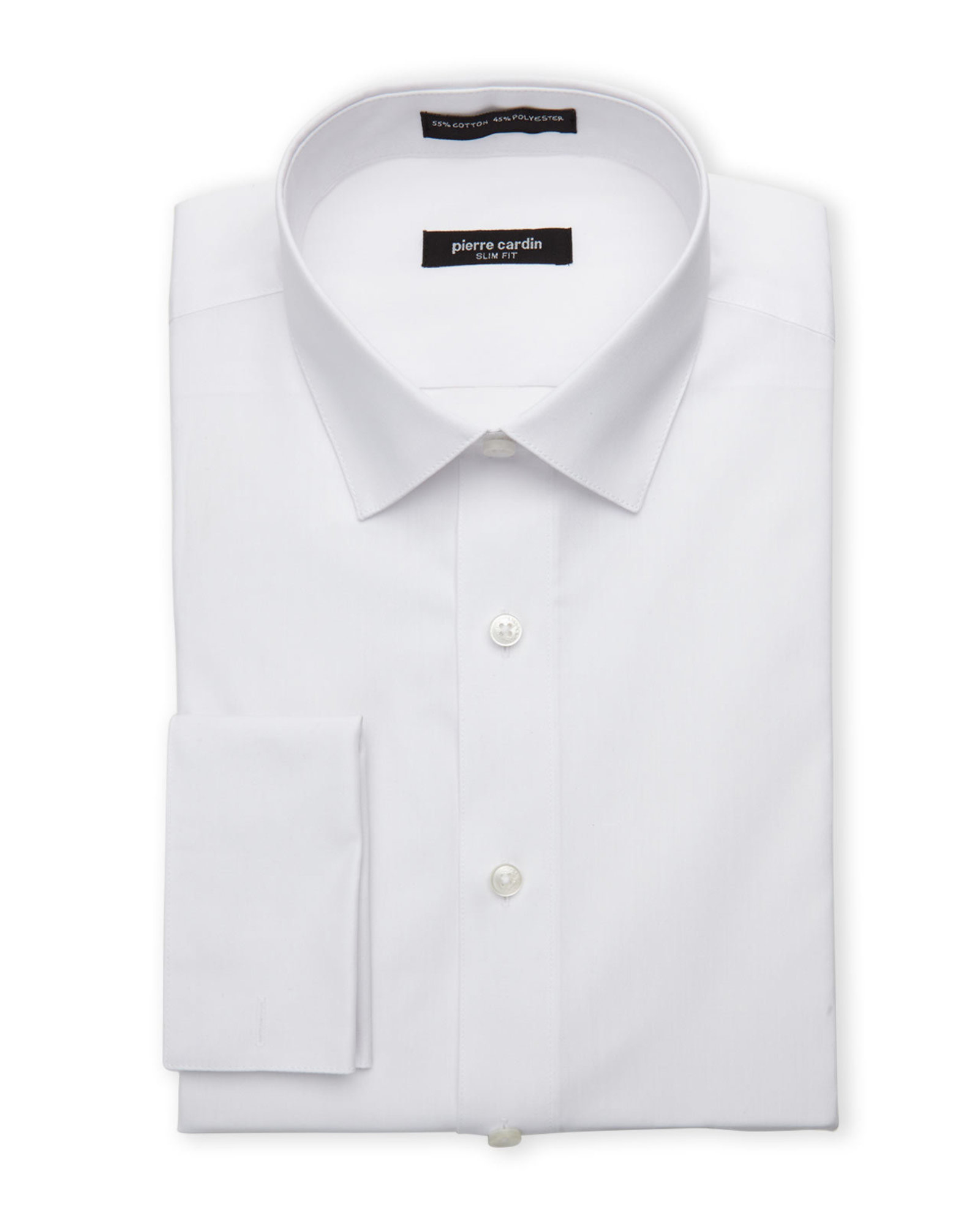 pierre cardin white slim fit french cuff dress shirt in