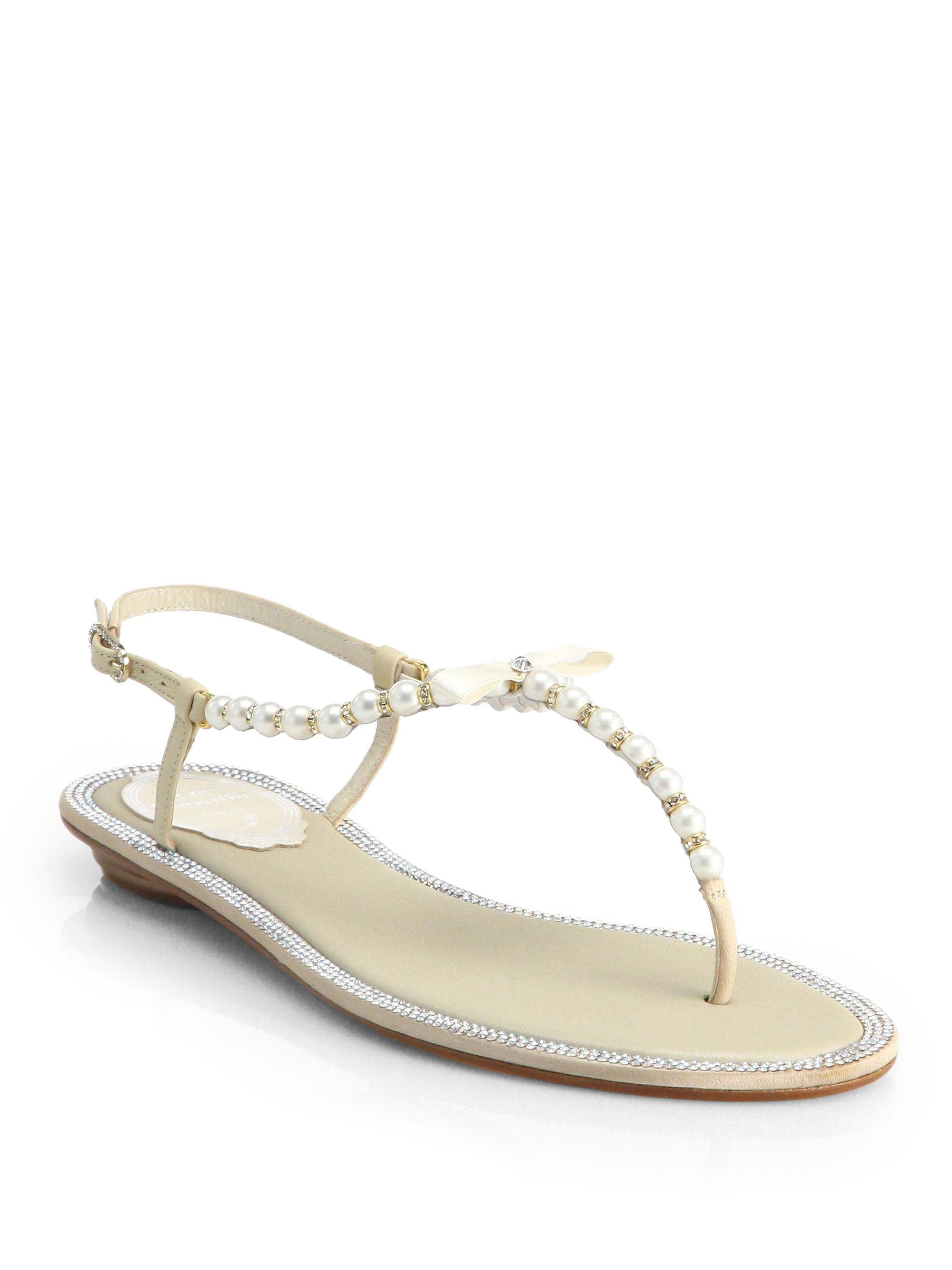 99f20497030a Lyst - Rene Caovilla Crystal   Faux Pearl Leather Sandals in Natural