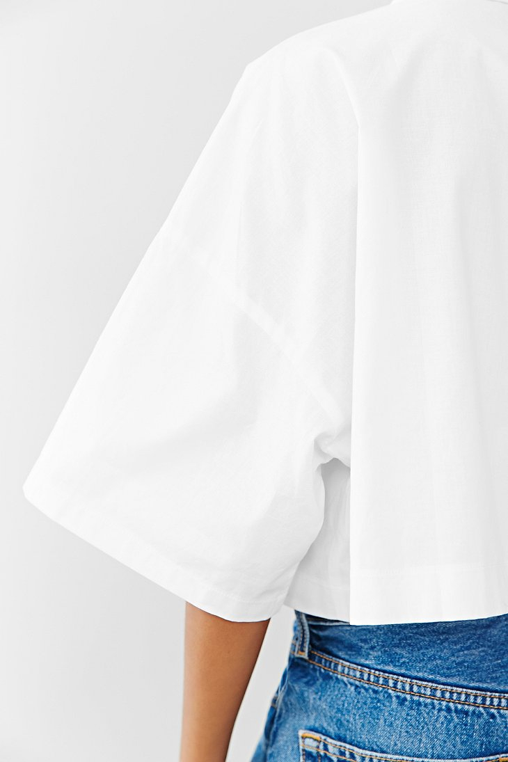 1b2fe193 Lucca Couture Square Cropped Button-Down Shirt in White - Lyst