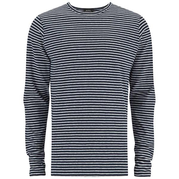 A p c men 39 s breton stripe long sleeve t shirt in blue for for Mens striped long sleeve t shirt