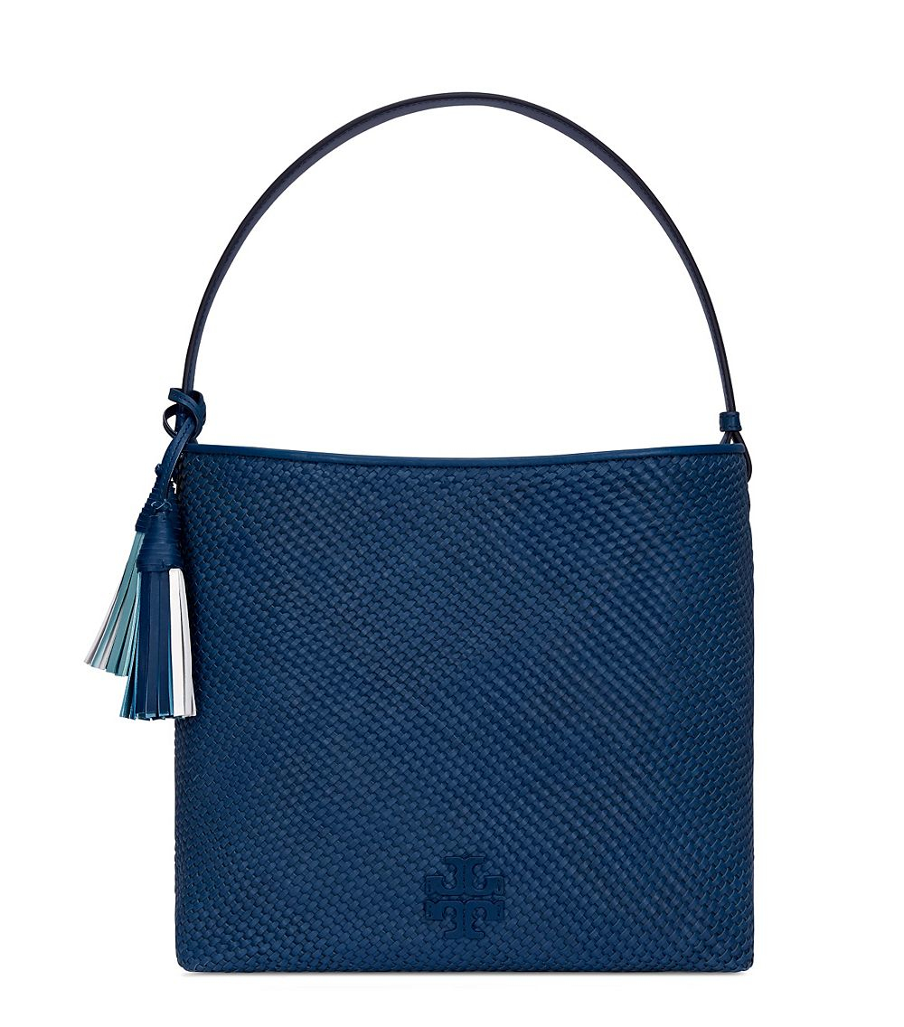 22430484c8702 Lyst - Tory Burch Thea Woven-leather Hobo in Blue