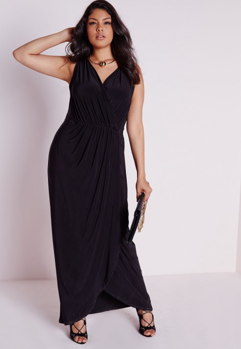 6d9cbb5f8ae Lyst - Missguided Plus Size Slinky Wrap Maxi Dress Black in Black