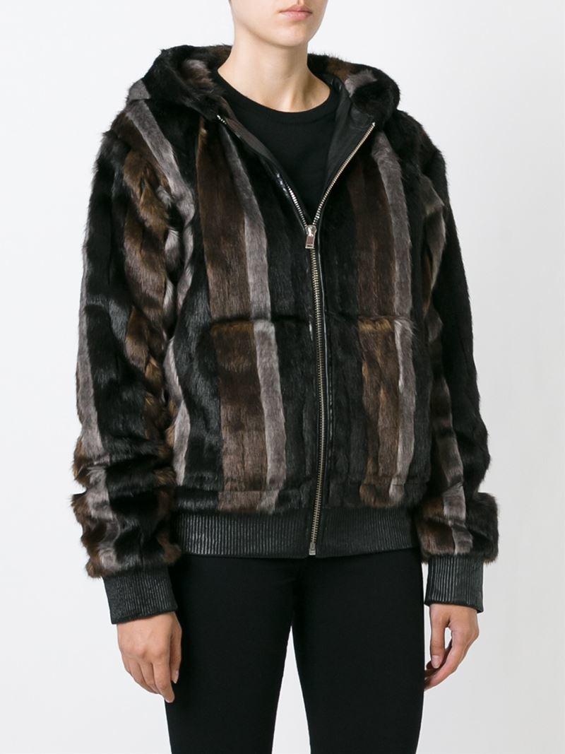 lyst filles a papa striped faux fur jacket. Black Bedroom Furniture Sets. Home Design Ideas
