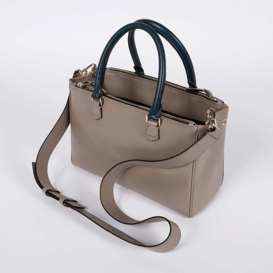 ebbbddab7357 Lyst - Paul Smith Women s Small Taupe And Green Double-zip Tote Bag ...