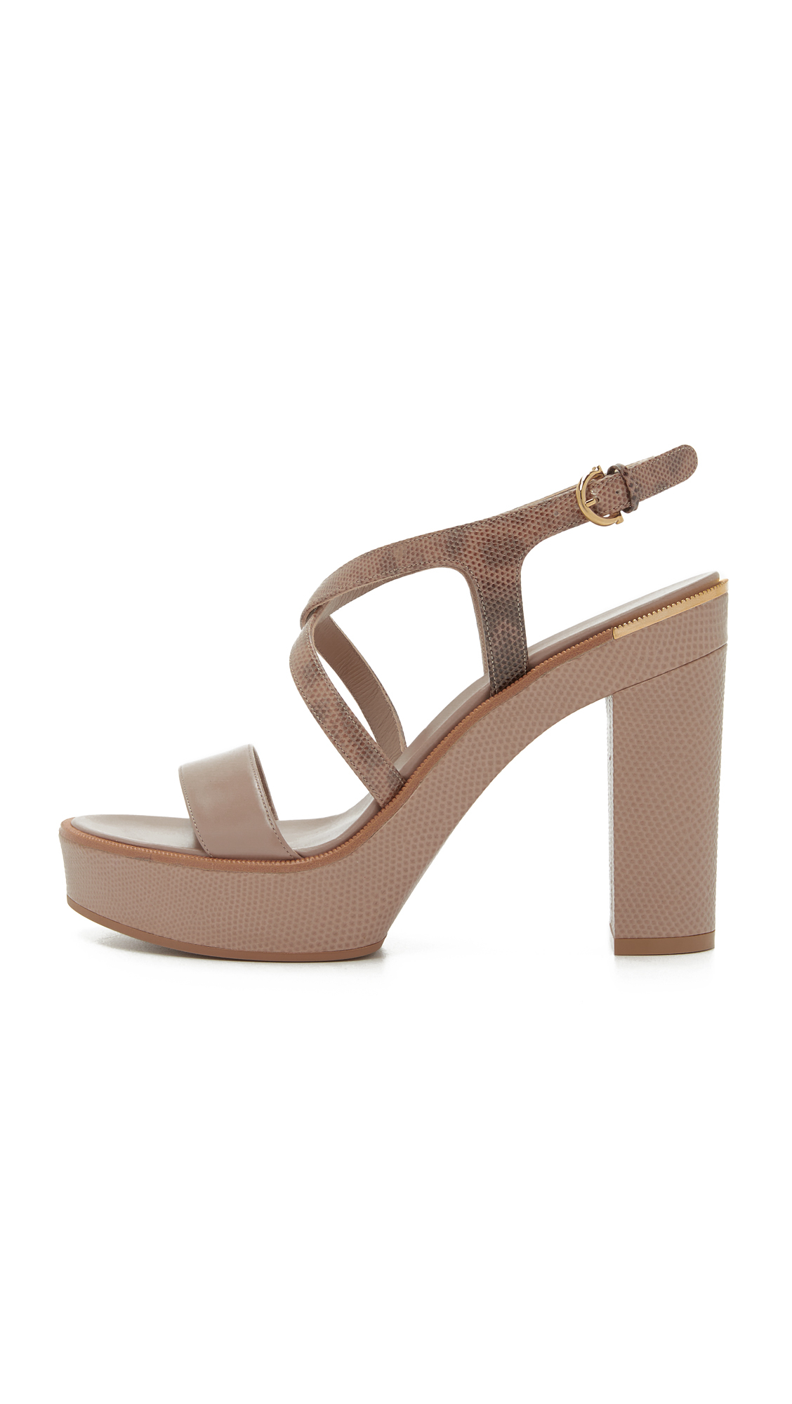 4faf6e56ae86 Ferragamo Gina Platform Sandals in Brown - Lyst