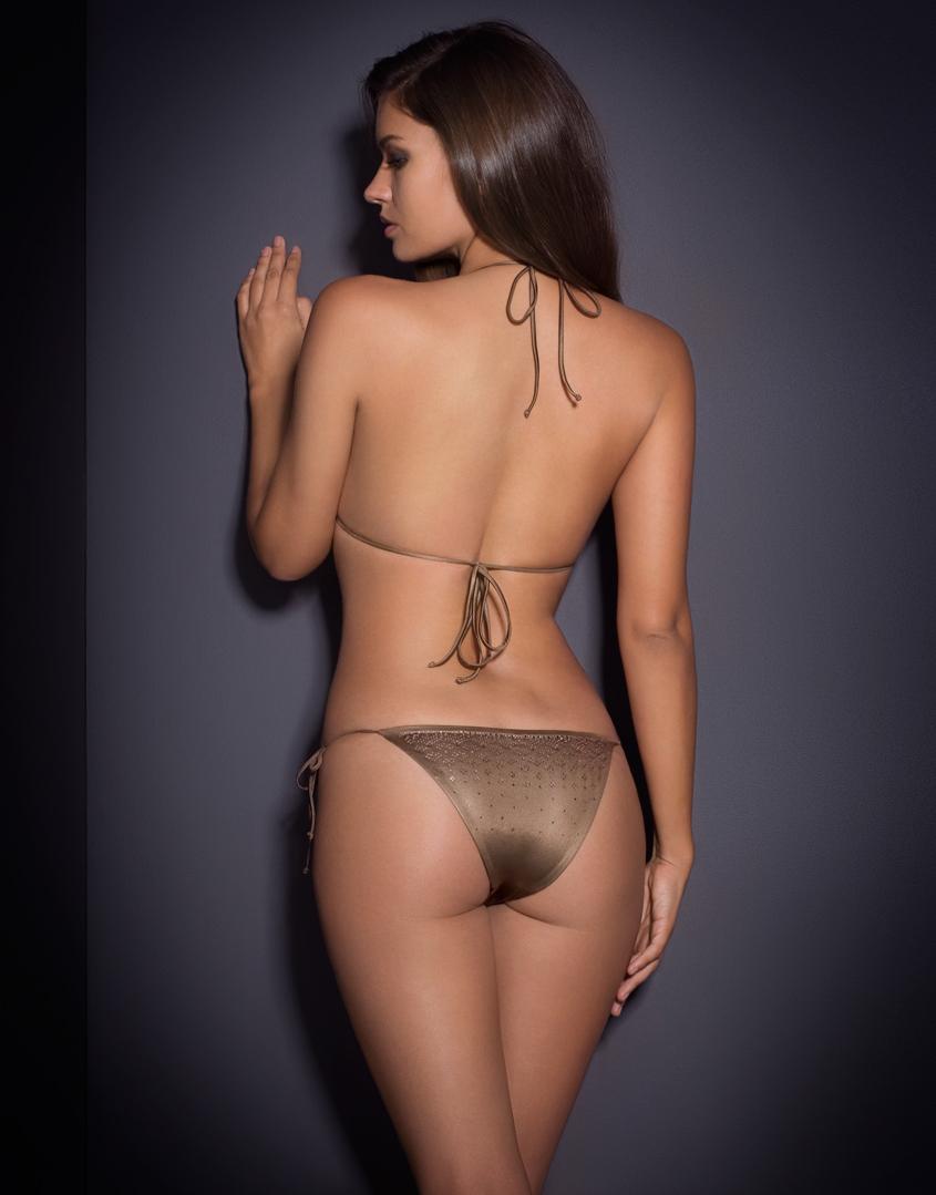 4097064389 Agent Provocateur Carter Bikini Bra Bronze in Metallic - Lyst