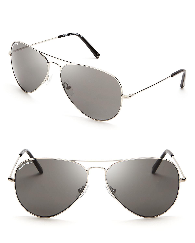 89a629e2ec8d Michael Kors Kennedy Aviator Sunglasses in Metallic - Lyst