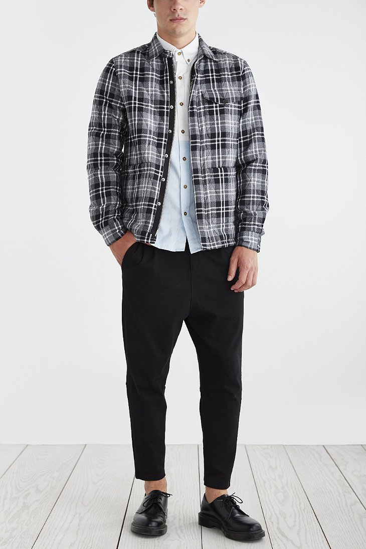 Vanishing elephant quilted plaid shirt jacket in black for for Plaid shirt jacket mens