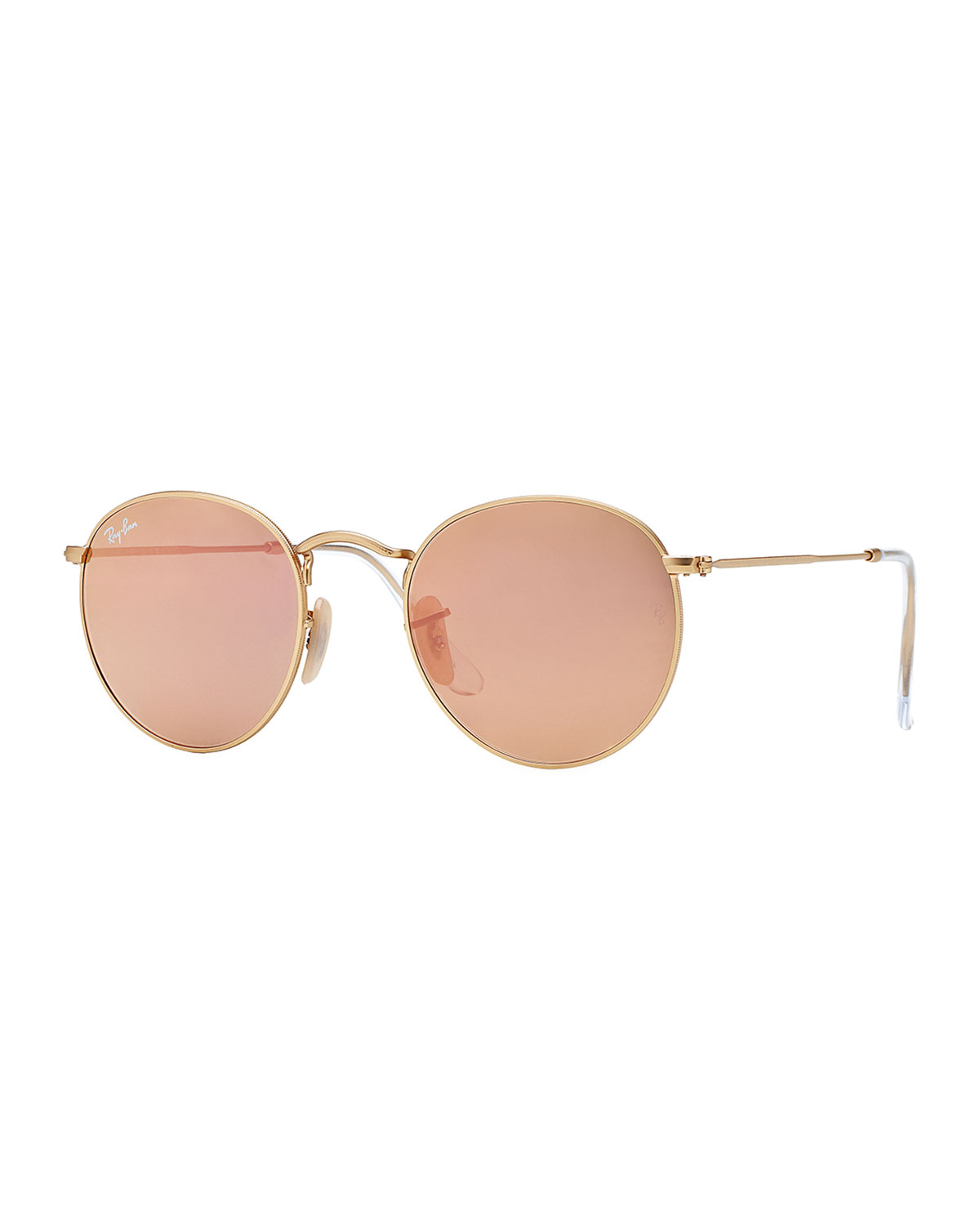 Ray-ban Round Metal-frame Sunglasses With Pink Lens in ...