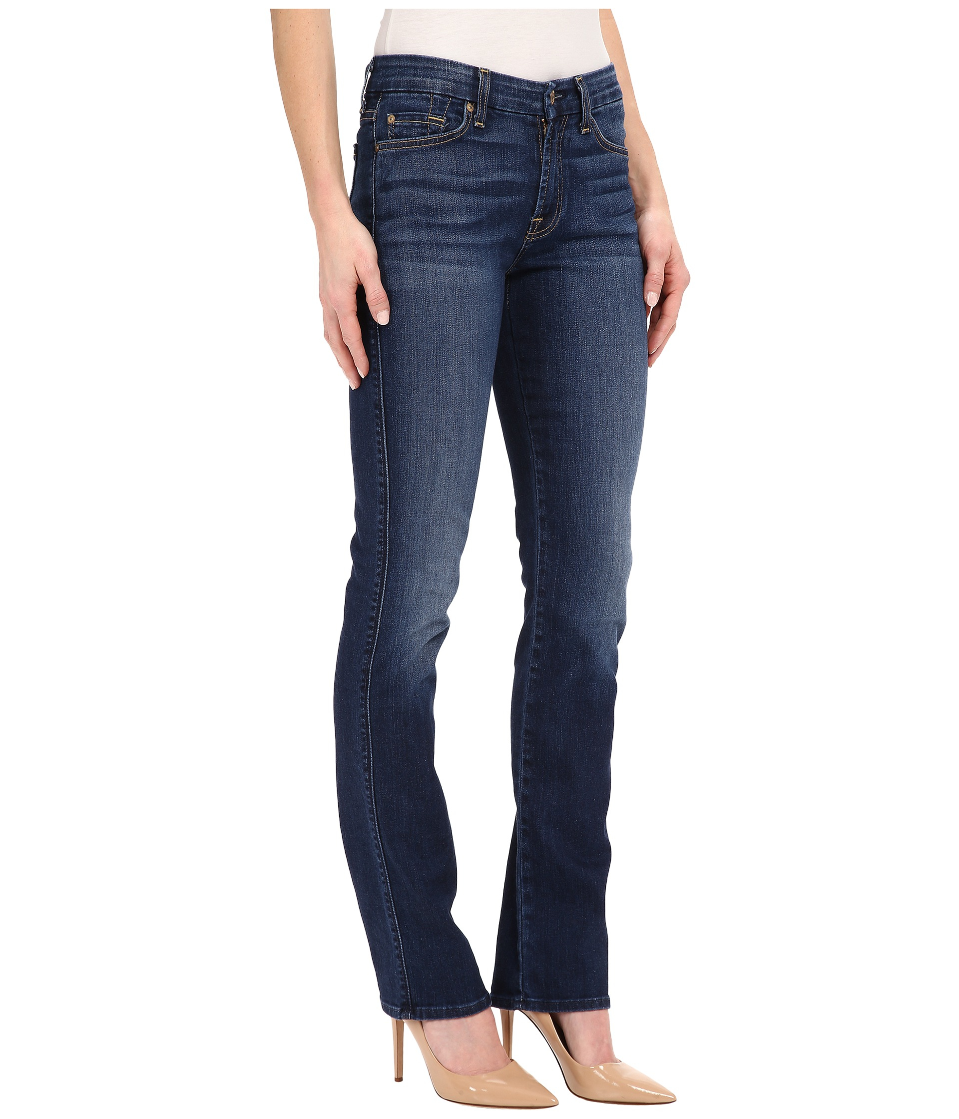 7 for all mankind Kimmie Straight In Medium Timeless Blue in Blue ...