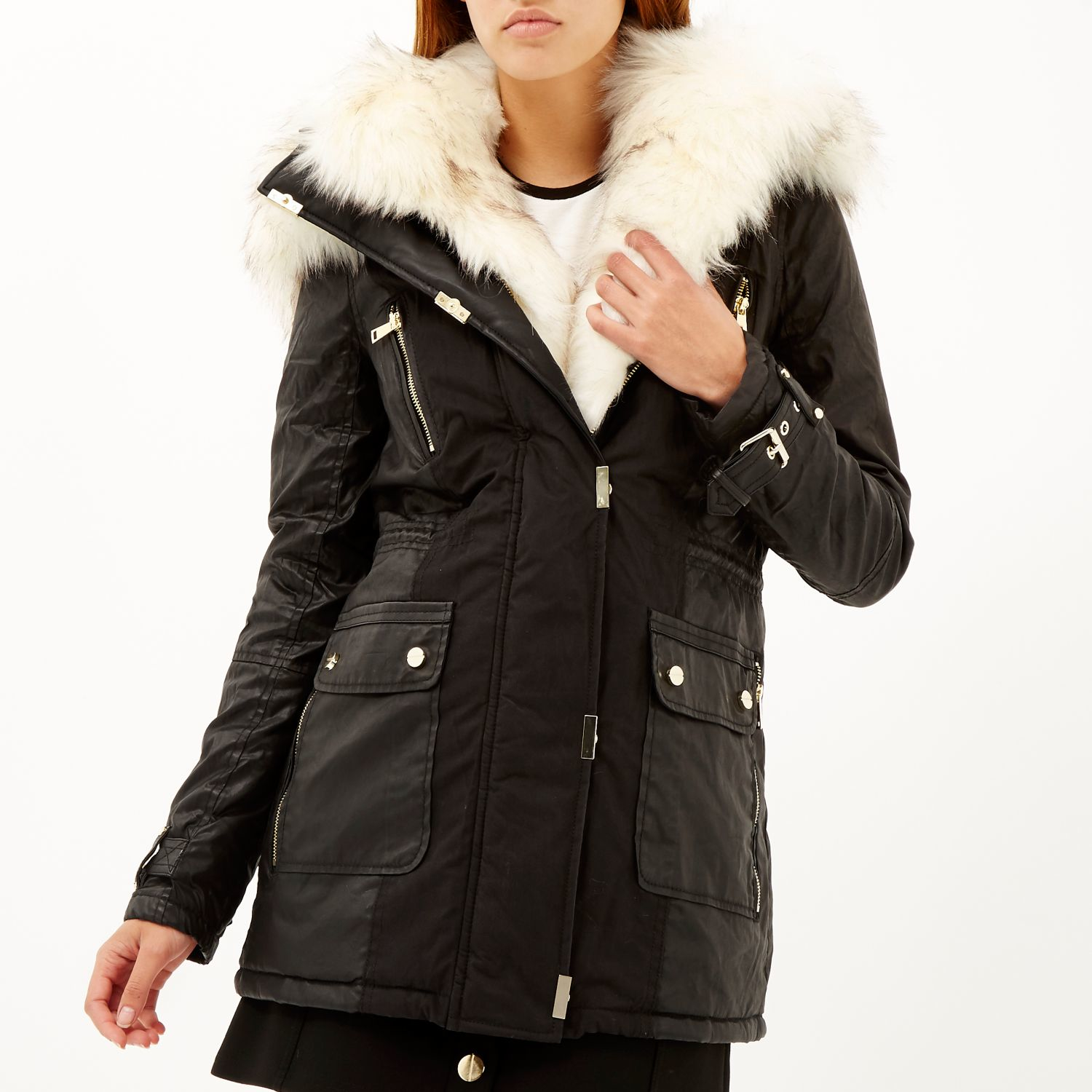 River island Black Faux Fur Trim Parka Jacket in Black | Lyst