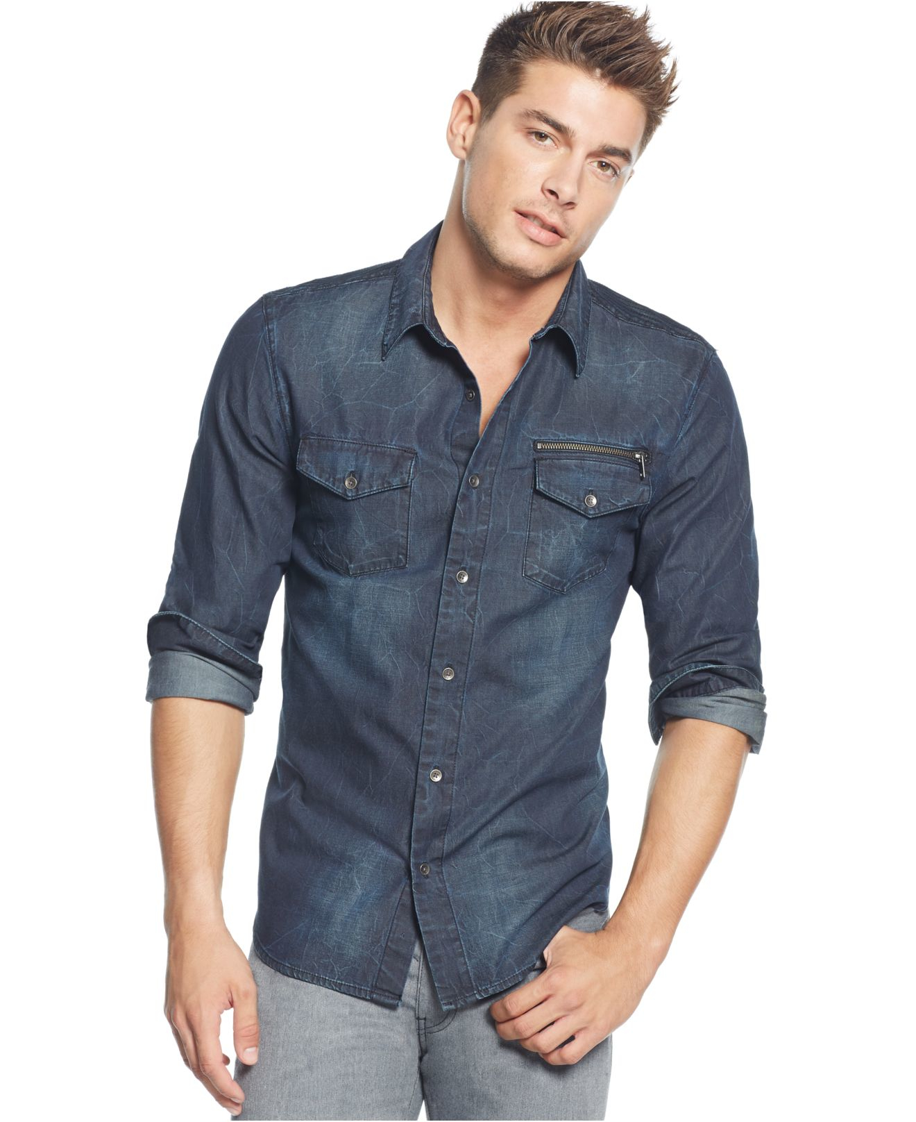 guess slim fit chambray moto shirt in blue for men lyst