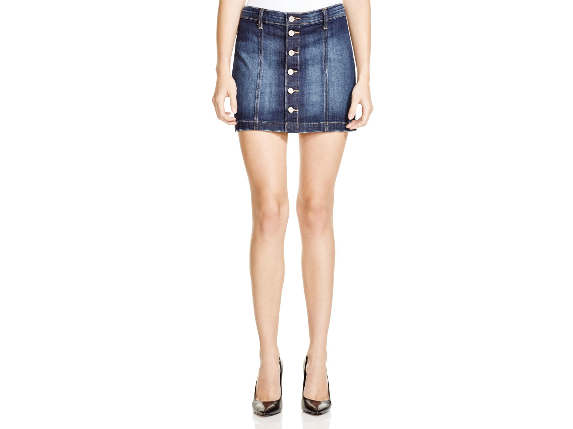 Flying monkey Button-front Denim Mini Skirt in Blue | Lyst