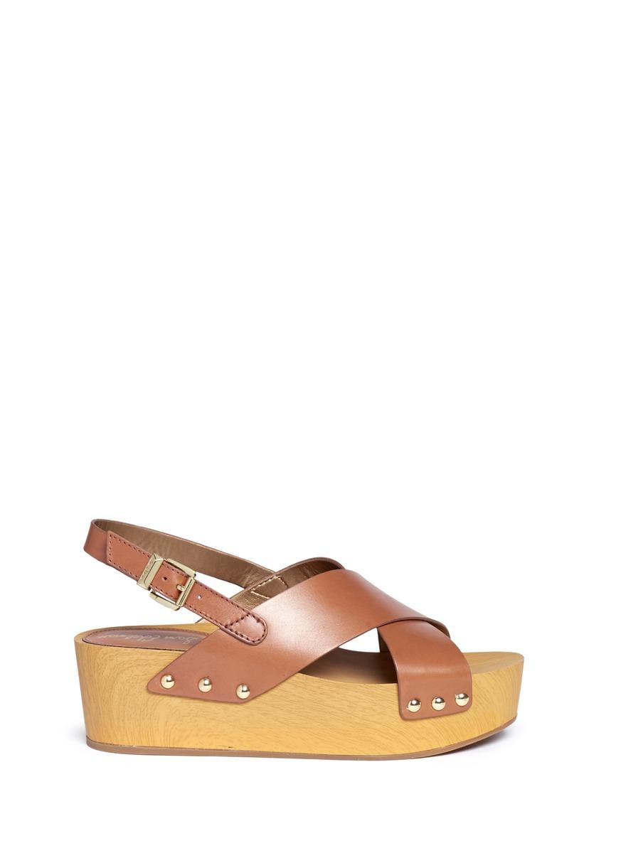 b8261abacf0 Lyst - Sam Edelman  bentlee  Leather Wooden Clog Platform Sandals in ...