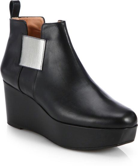 robert clergerie leather wedge ankle boots in black lyst