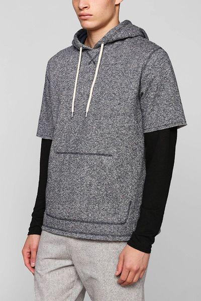Bdg Nep Short-Sleeve Pullover Hooded Sweatshirt in Blue for Men (NAVY