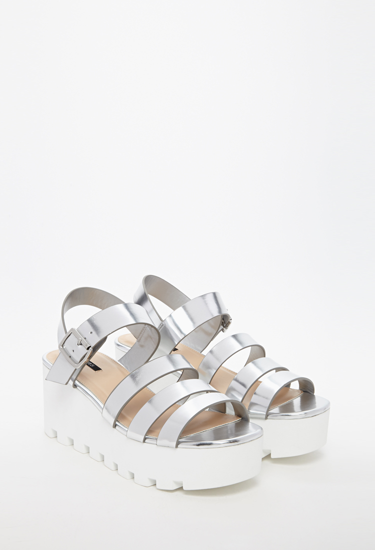 801b3376e122 Forever 21 Patent Faux Leather Platform Sandal in Metallic - Lyst