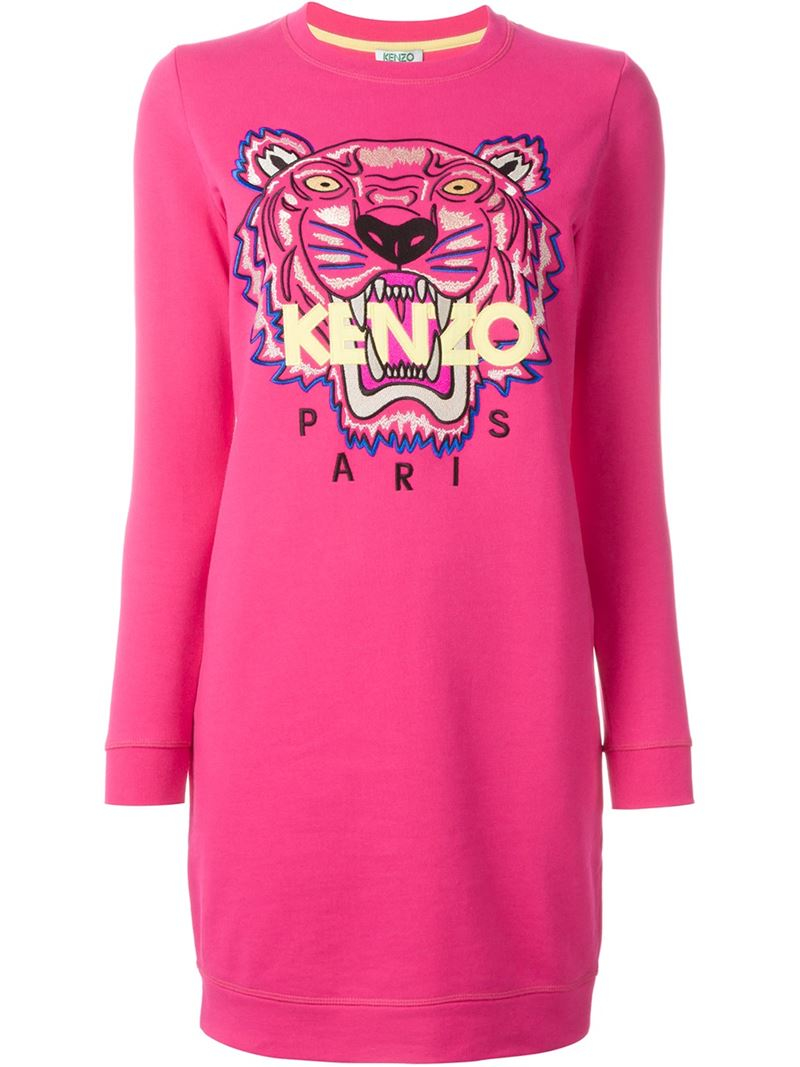 4f0ff5f6 KENZO 'tiger' Sweatshirt Dress in Pink - Lyst