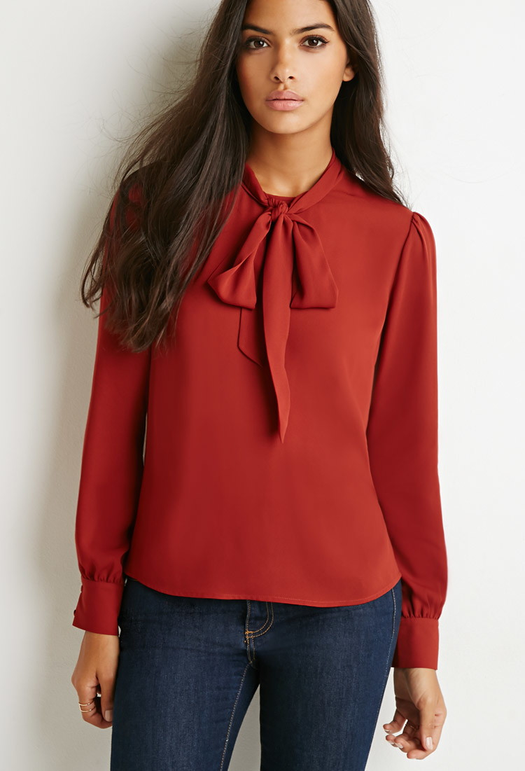 lyst forever 21 bow highneck blouse in purple