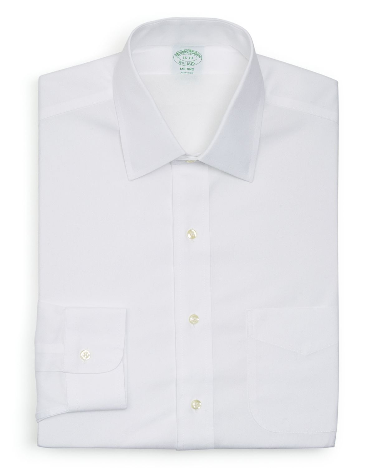 Brooks brothers solid non iron dress shirt milano fit in for Brooks brothers dress shirt fit