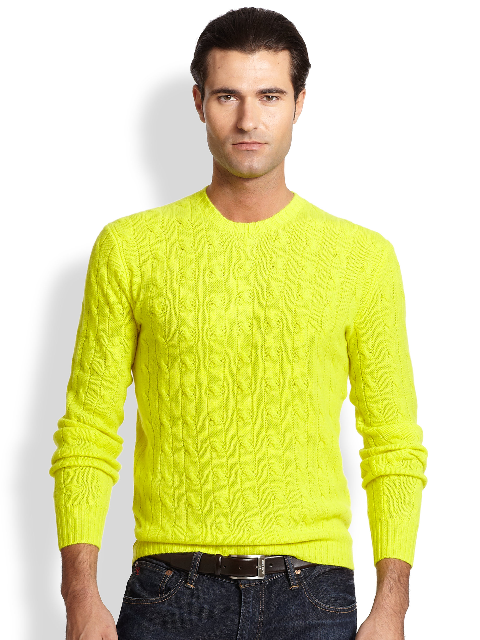 Polo ralph lauren Cable-knit Cashmere Sweater in Yellow for Men | Lyst