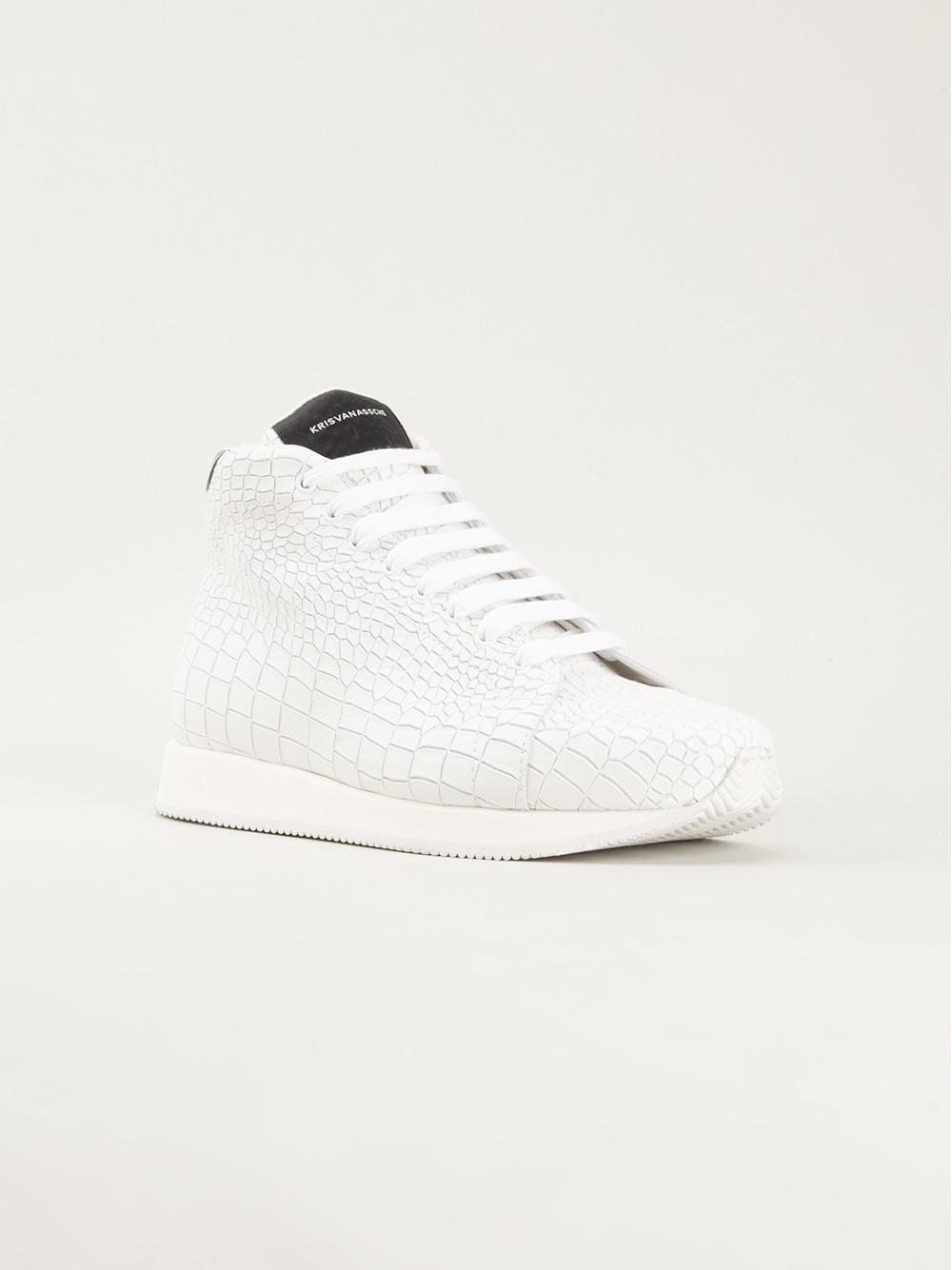 Baskets Effet Crocodile Blanc YrS4o