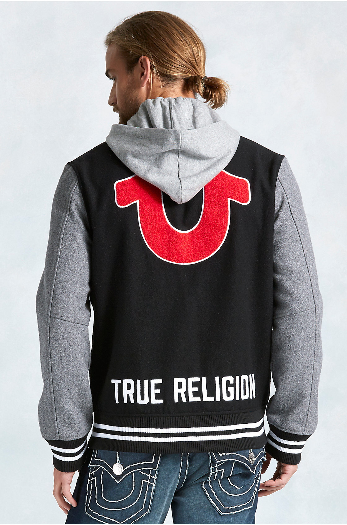 true religion hand picked varsity hooded mens jacket in black for men lyst. Black Bedroom Furniture Sets. Home Design Ideas