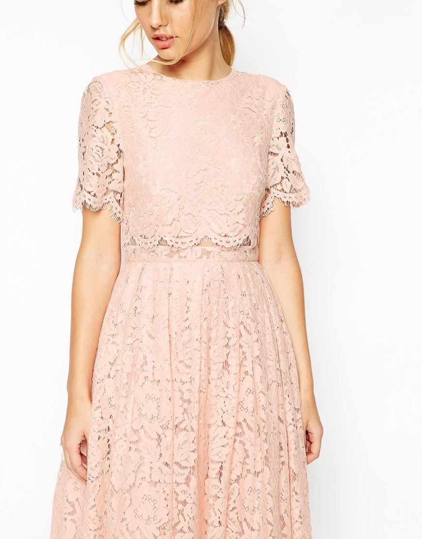 9e74b0315fe ASOS Lace Crop Top Midi Prom Dress in Pink - Lyst