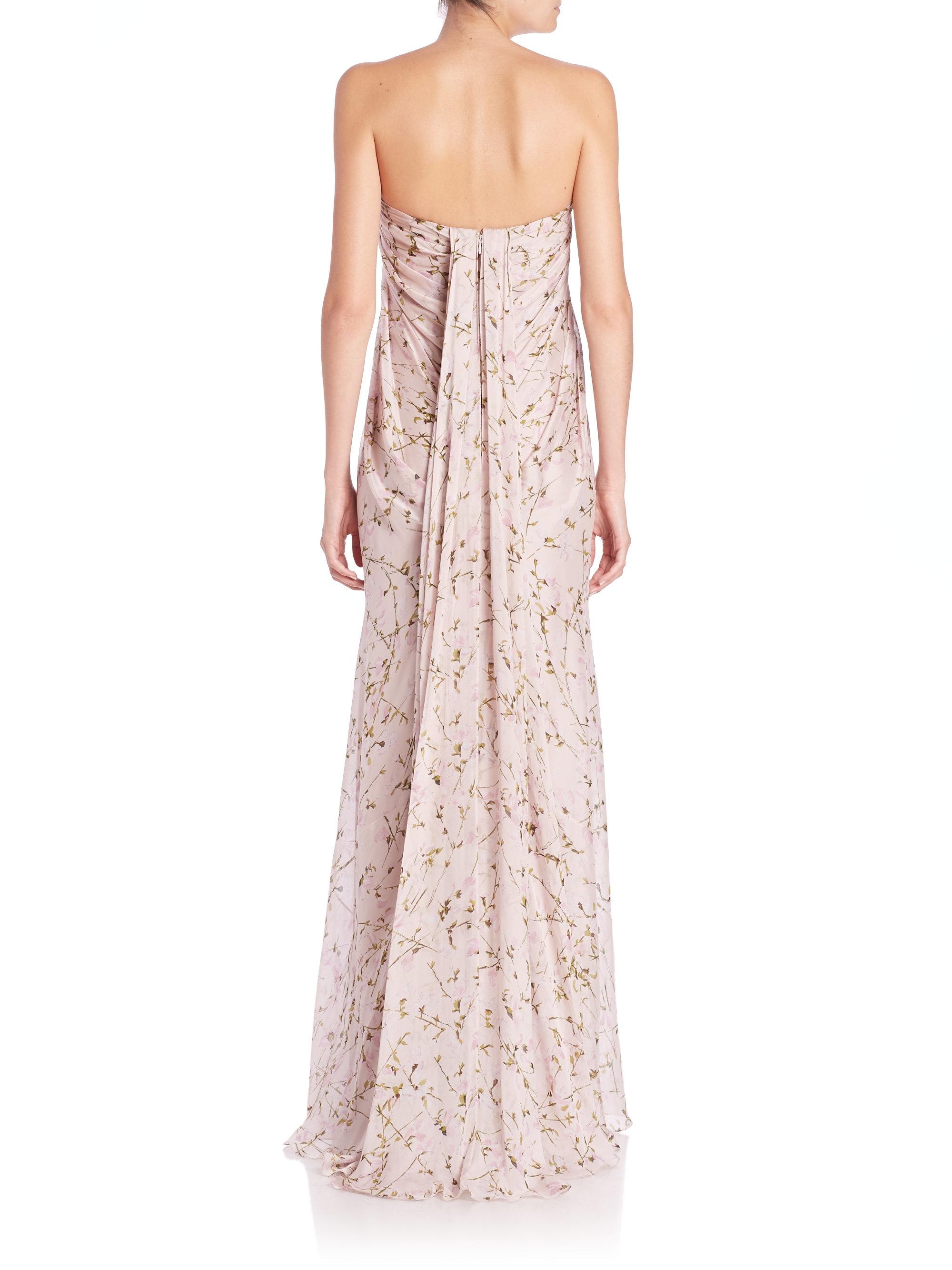 Lyst - Alexander Mcqueen Strapless Silk Chiffon Sweetpea Gown in Pink