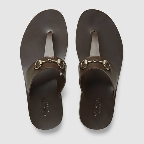 33399389ac2 Lyst - Gucci Leather Horsebit Thong Sandal in Brown for Men