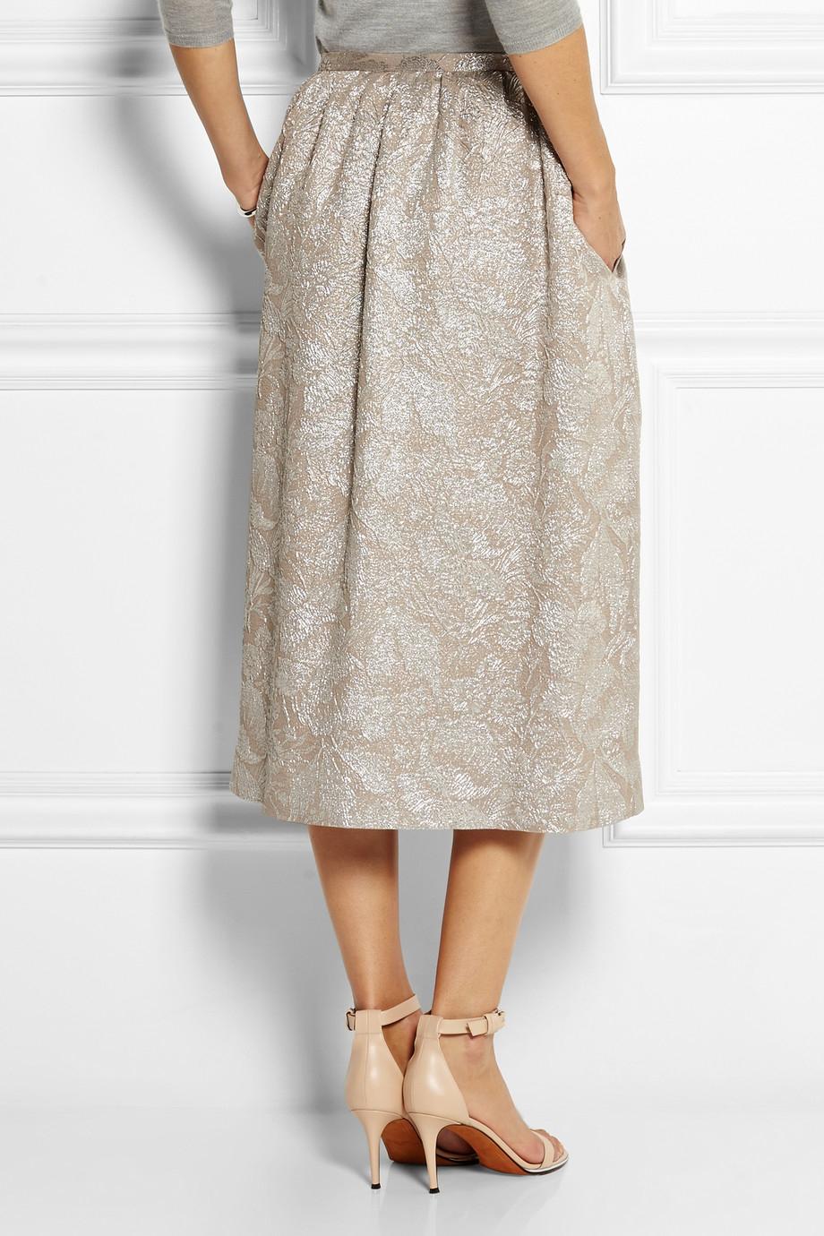 rochas metallic silk blend jacquard midi skirt in metallic