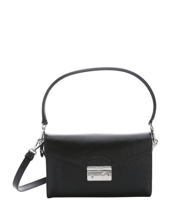 25a1095697 ... wholesale lyst prada black saffiano leather convertible shoulder bag in  black 5bef5 ab06c