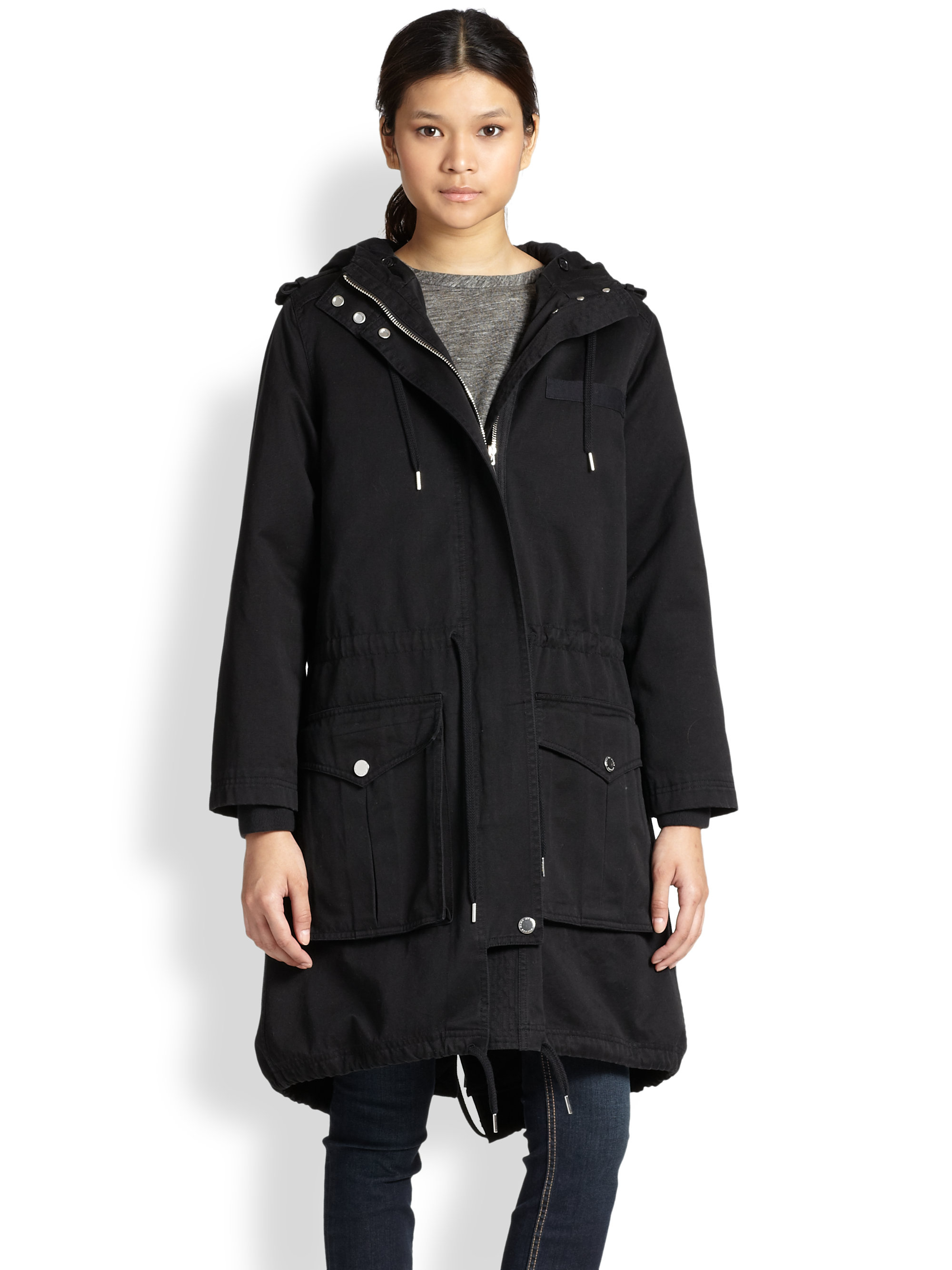 Marc by marc jacobs Cotton Army Parka in Black | Lyst
