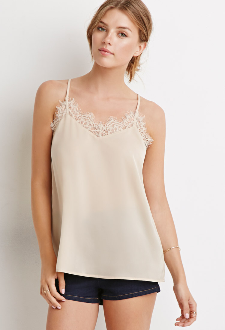 0cf8c0fde7b Forever 21 Contemporary Eyelash Lace-trimmed Cami in Natural - Lyst
